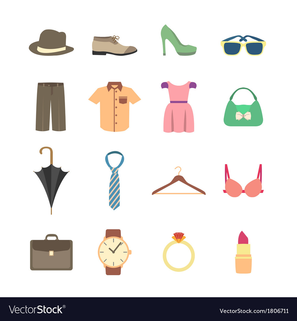 Fashion and clothes accessories icons vector image