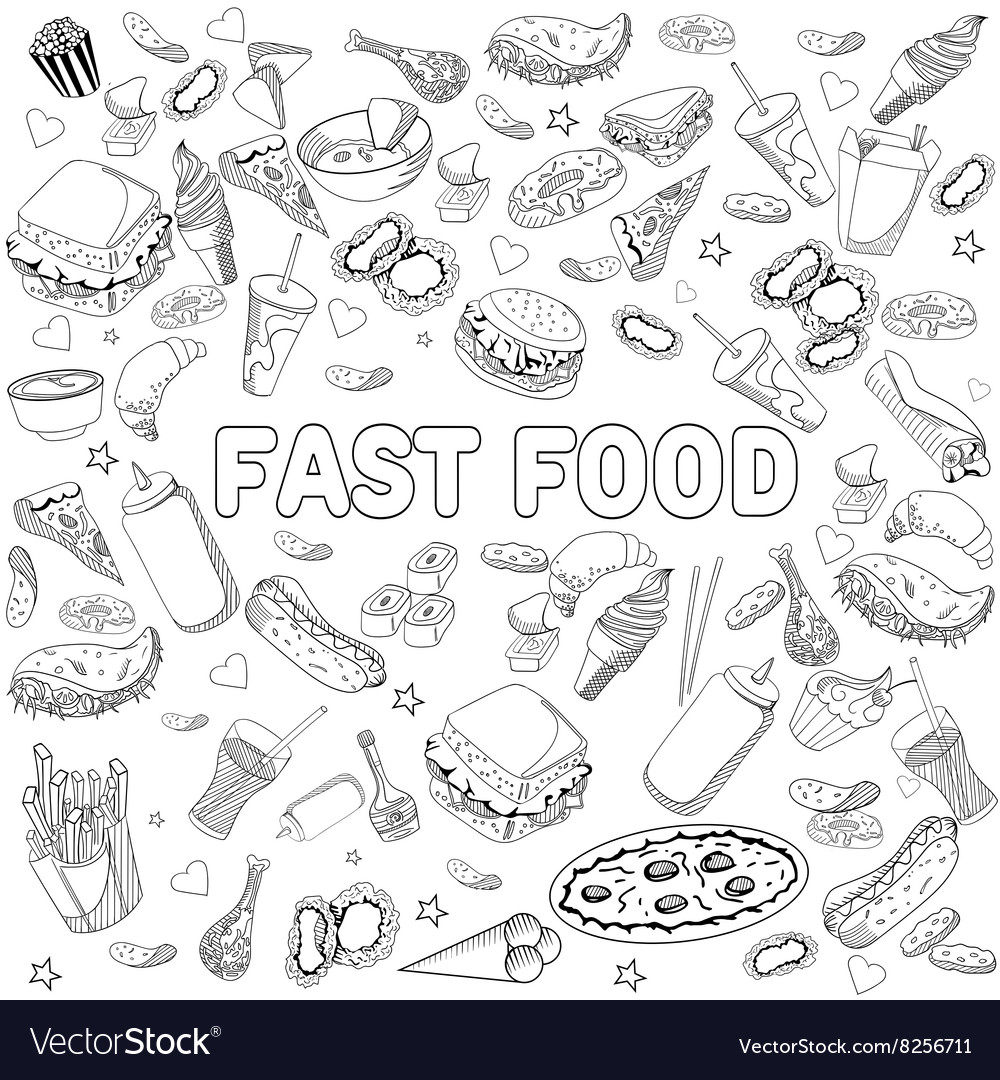 - Fast Food Coloring Book Design Line Art Royalty Free Vector