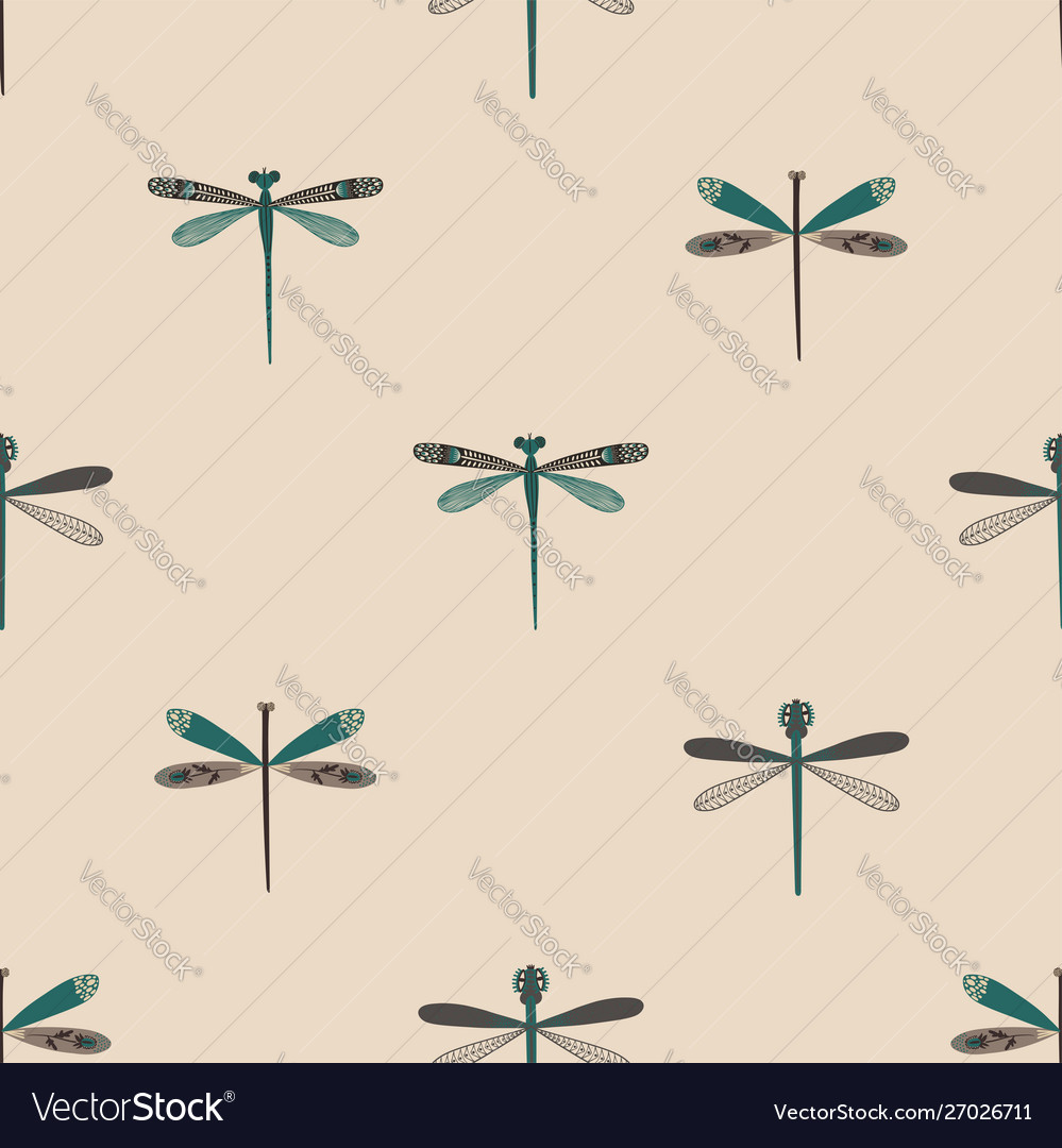 Folk art seamless pattern with dragonflies