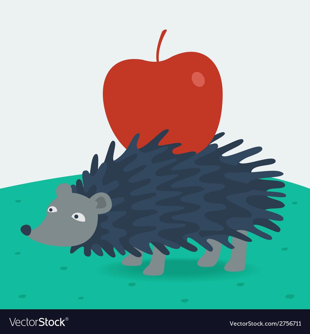 Forest hedgehog carries apple vector image