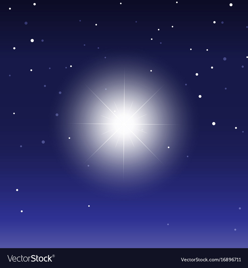 Glowing light bursts on dark background star vector image