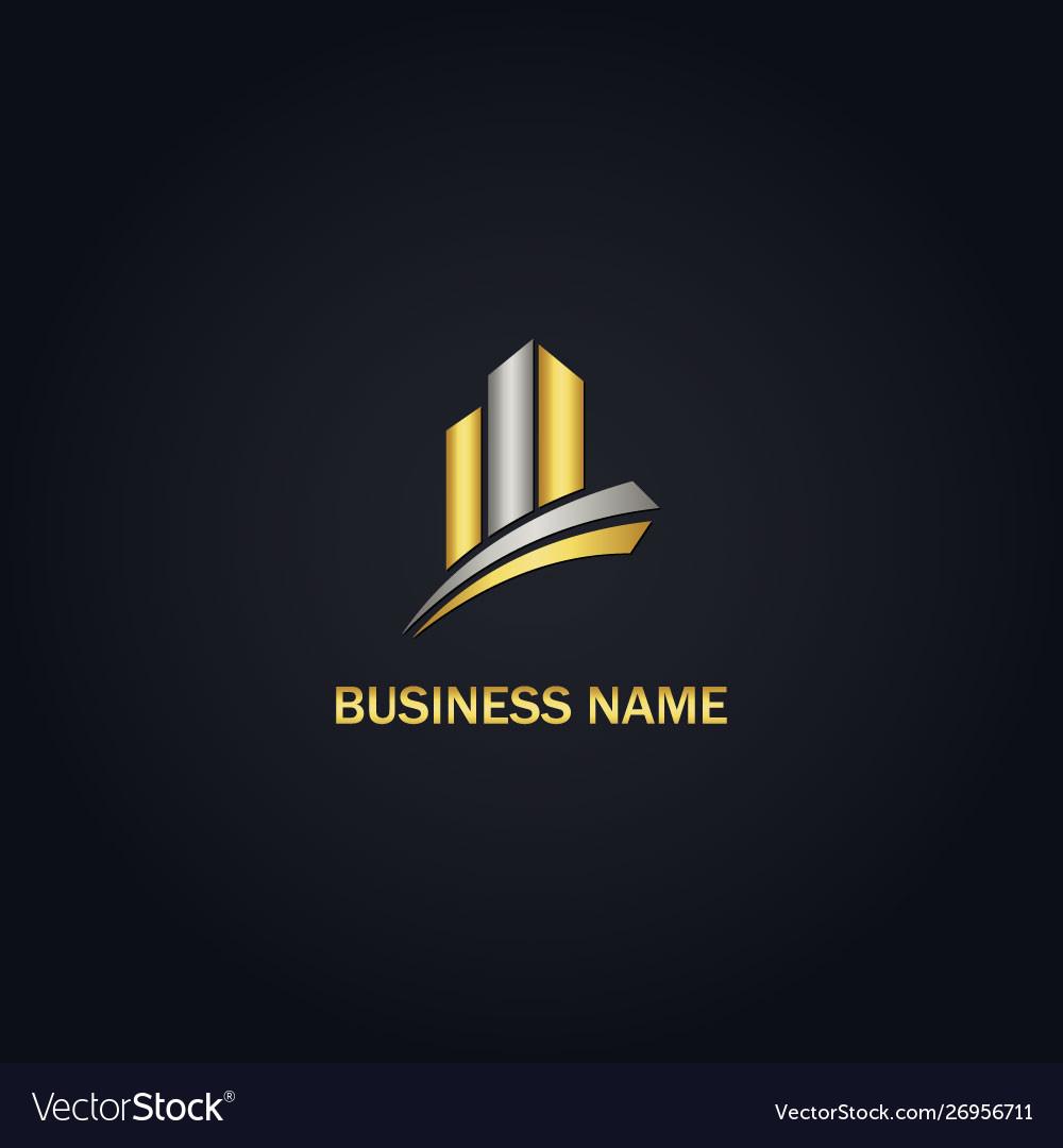 Gold building business logo