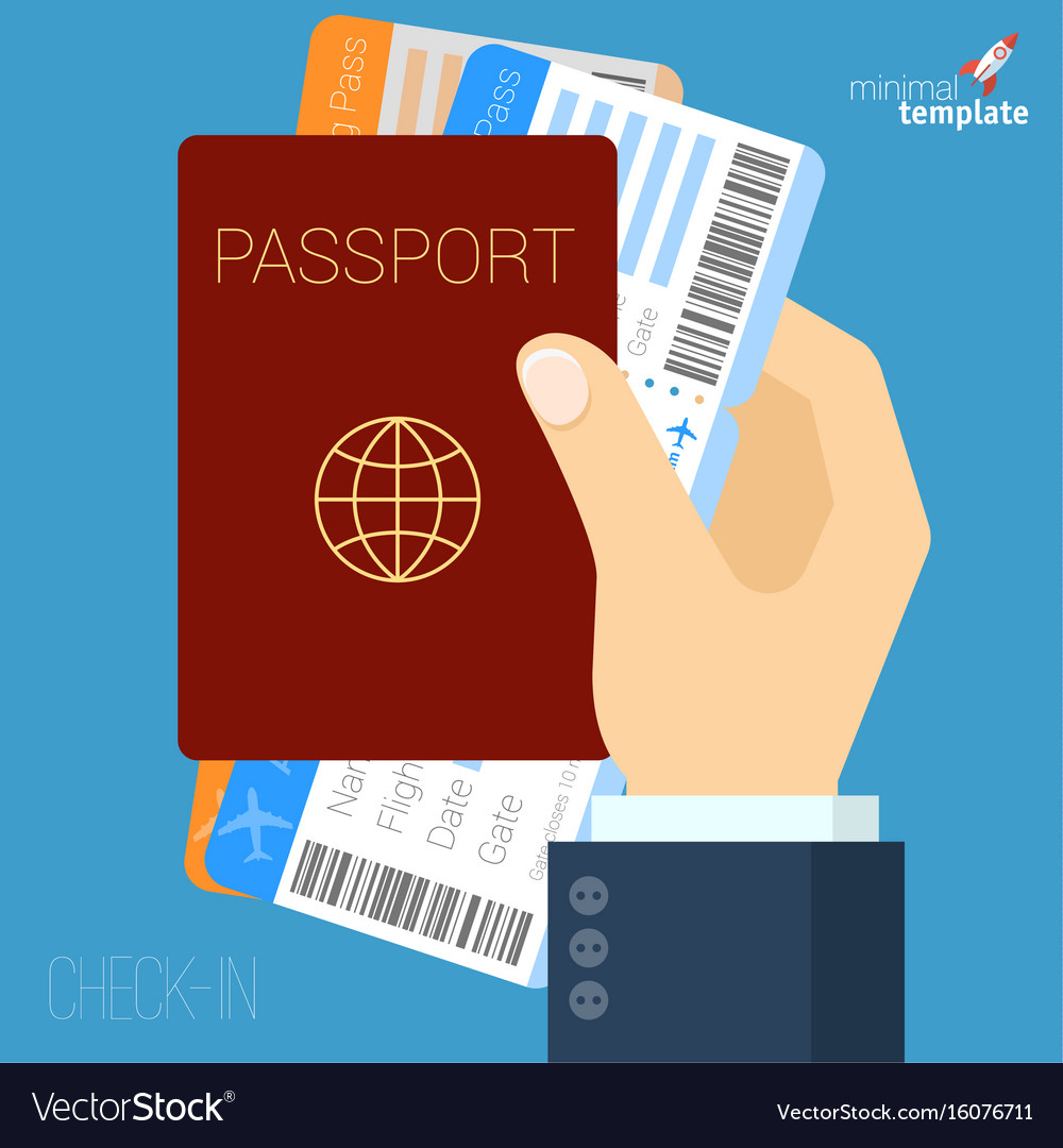 Hand with passport and air tickets flat icon