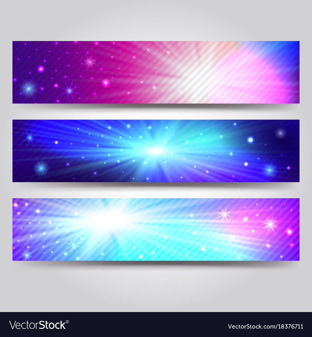 Set of banner with light rays
