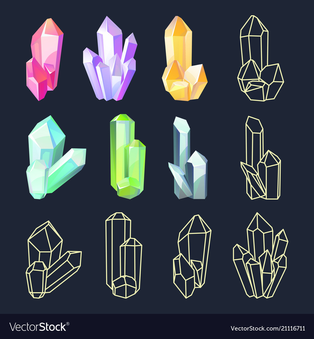 Set of isolated colorful crystals