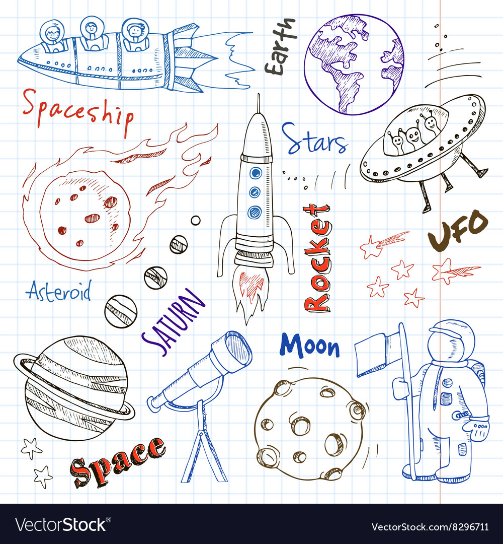 Space hand drawn doodles Stars planet and space