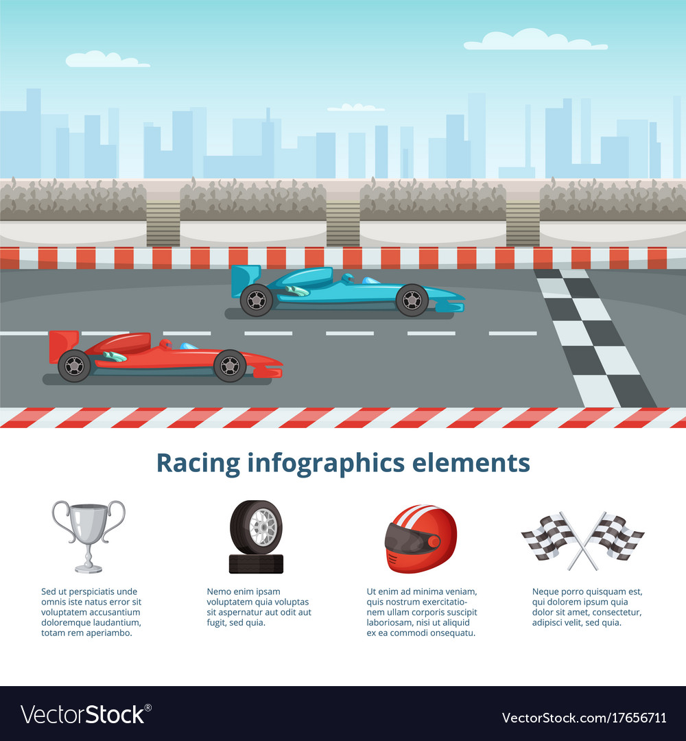 Sport infographic with race cars of formula 1