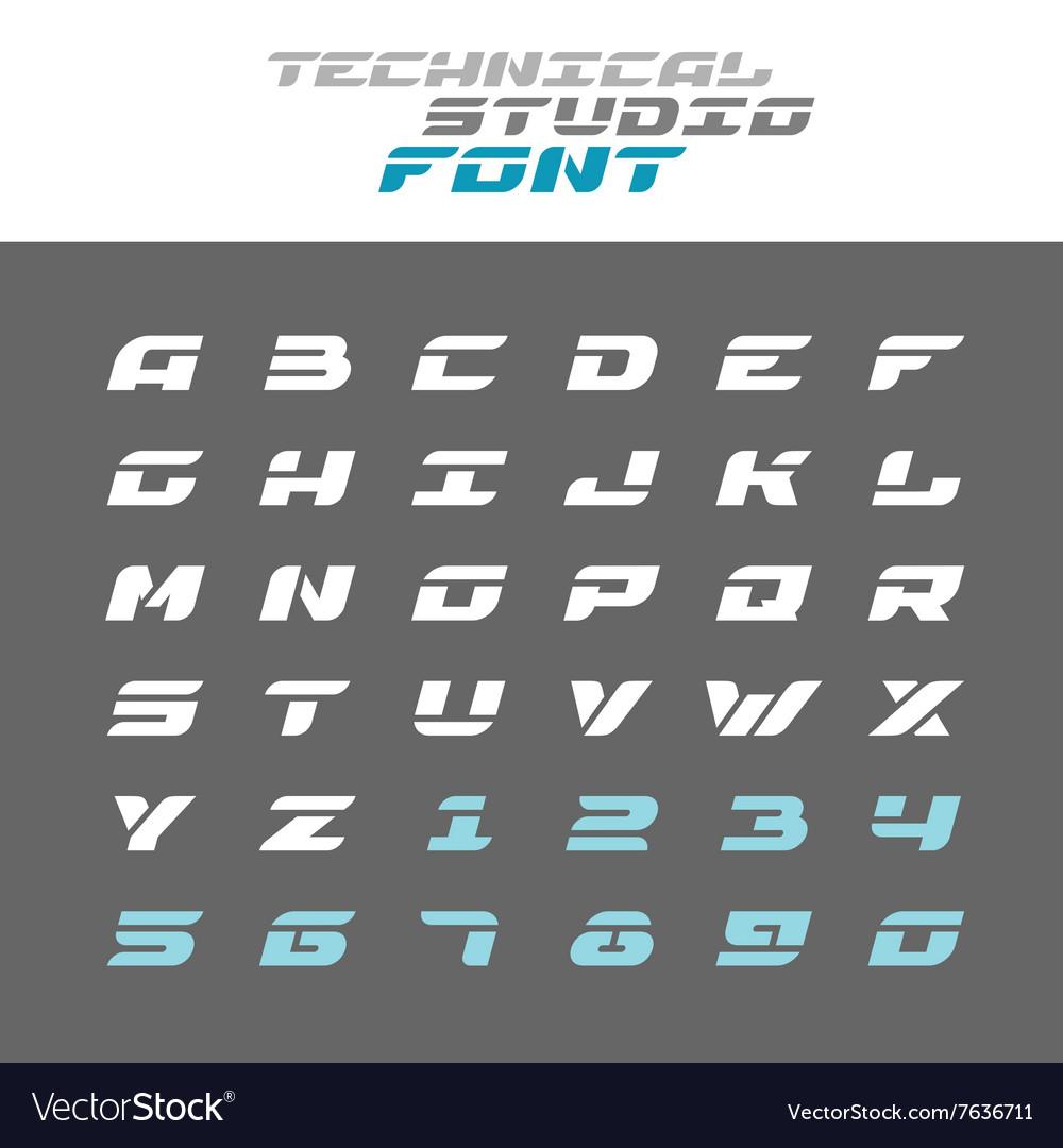 Tech letters stencil font Wide bold italic techno