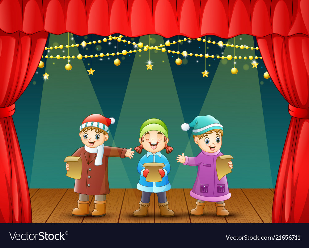 Three kids singing christmas carols on stage