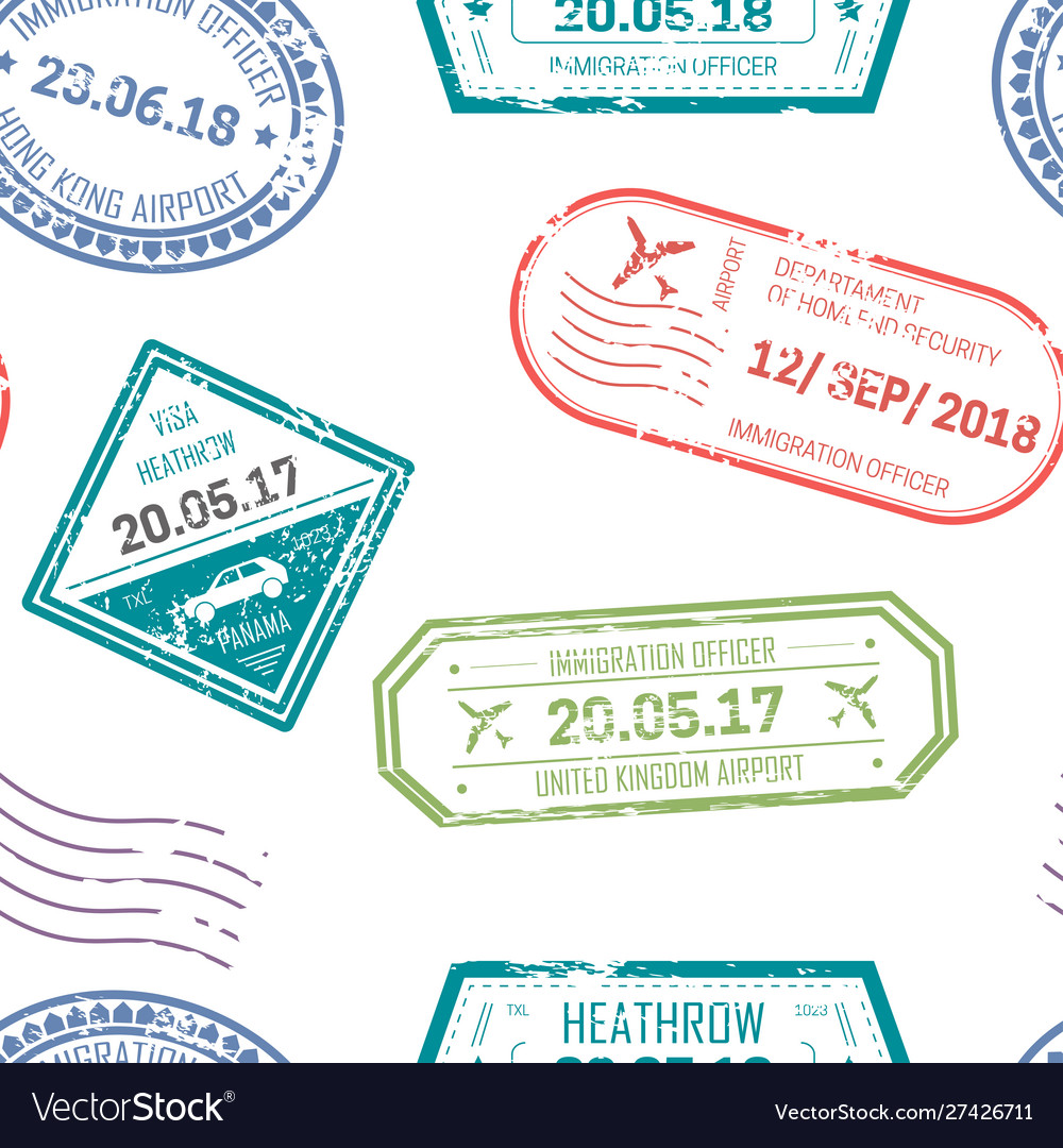 Visa and passport stamps upon departure and