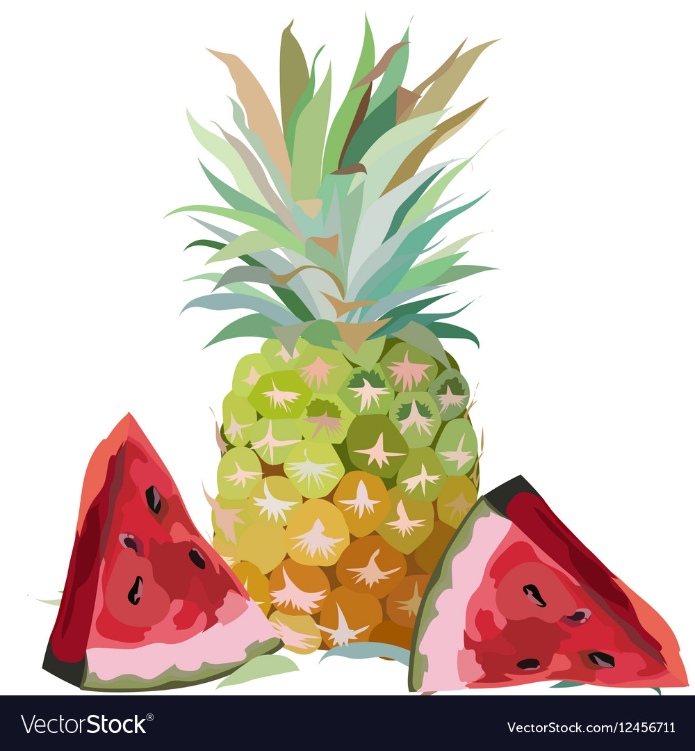 Watercolor Pineapple and Watermelon