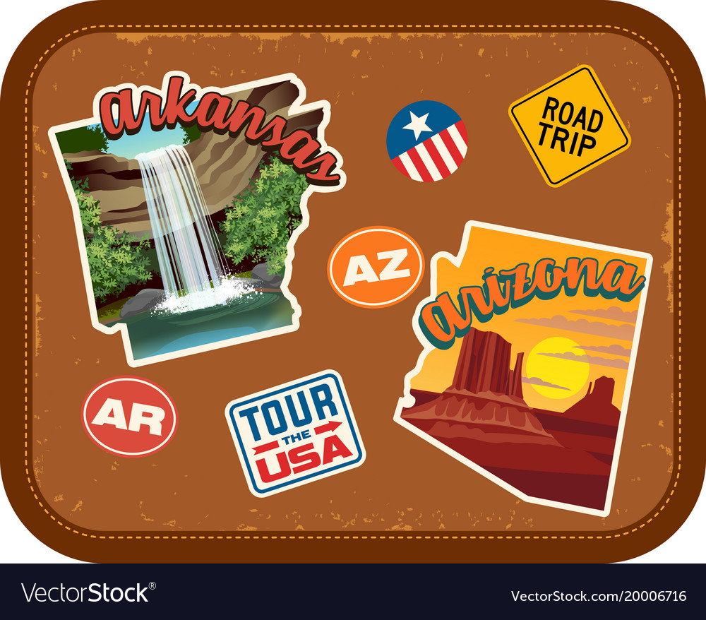 Arkansas arizona travel stickers