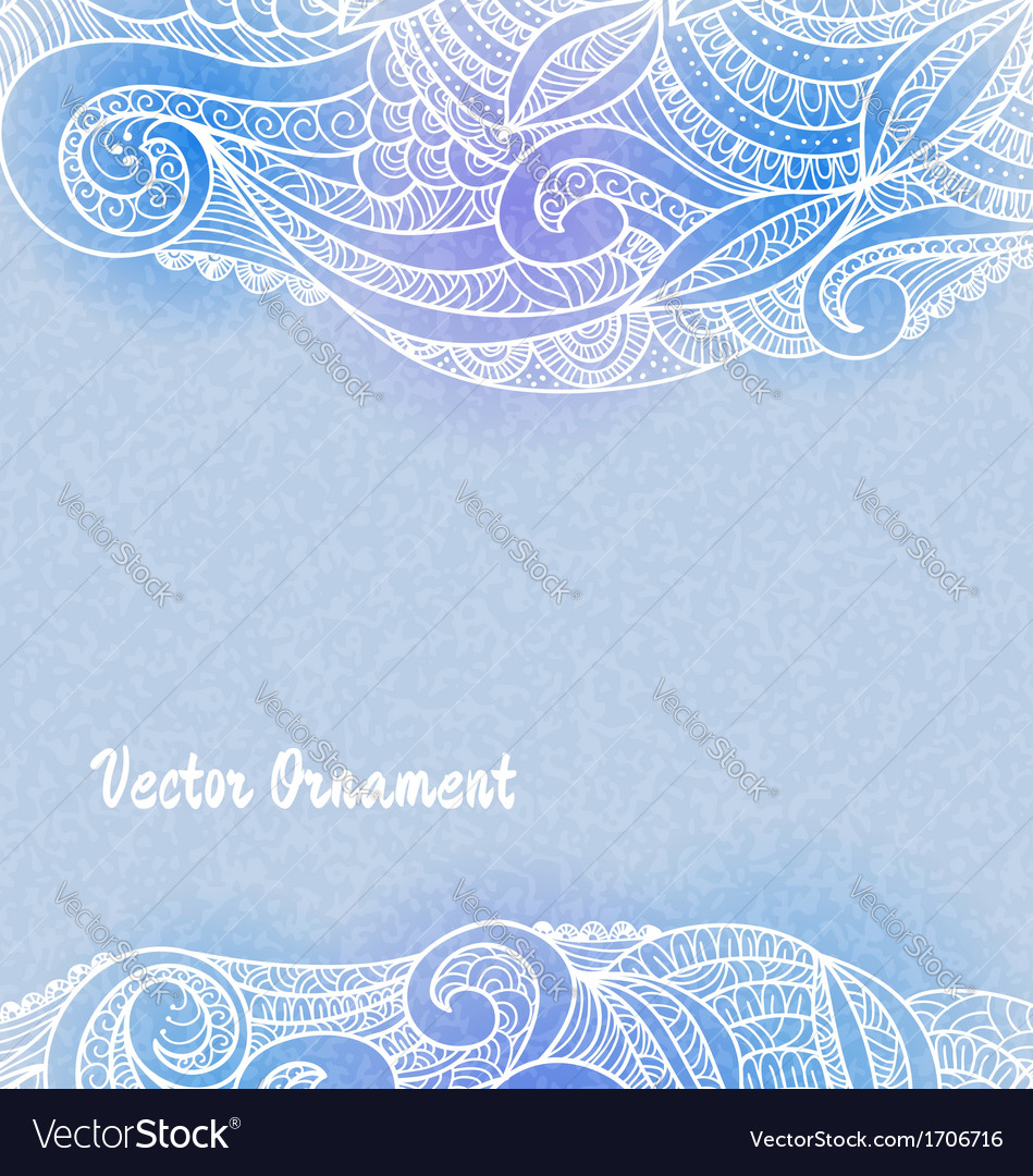 Card with ornaments hand-drawn