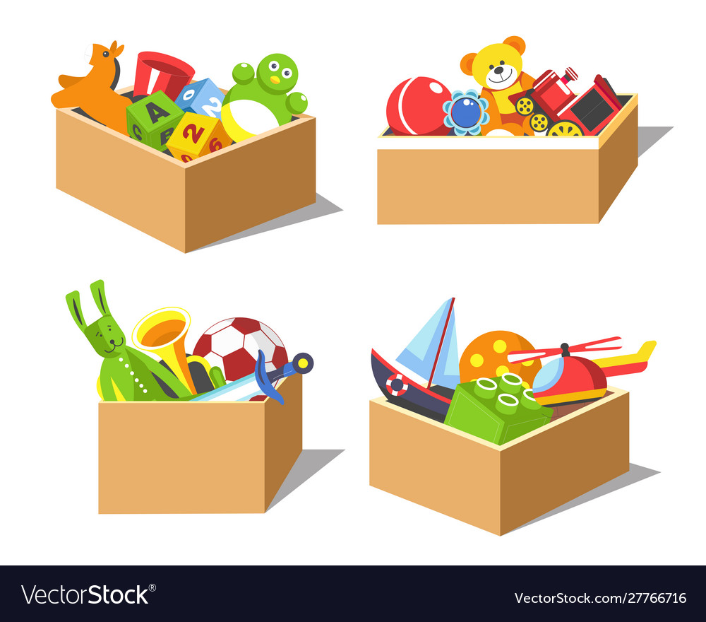 Cardboard boxes with kids favorite toys vector