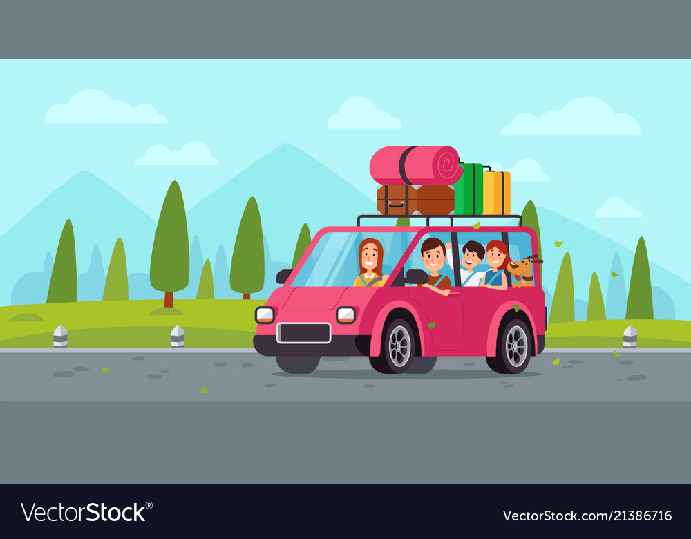 Cartoon family travel in car happy father mother