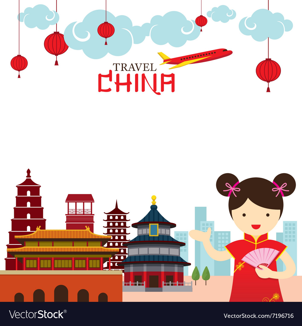 Chinese Girl Travel China Frame vector image