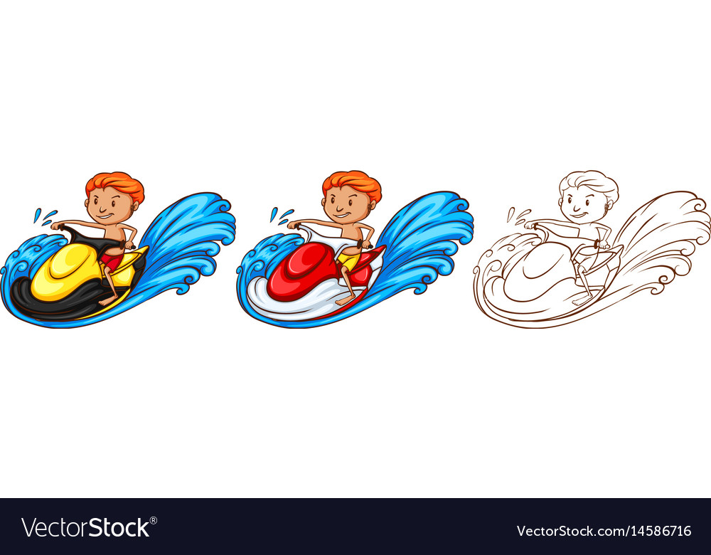 Drafting character for man riding waterscooter