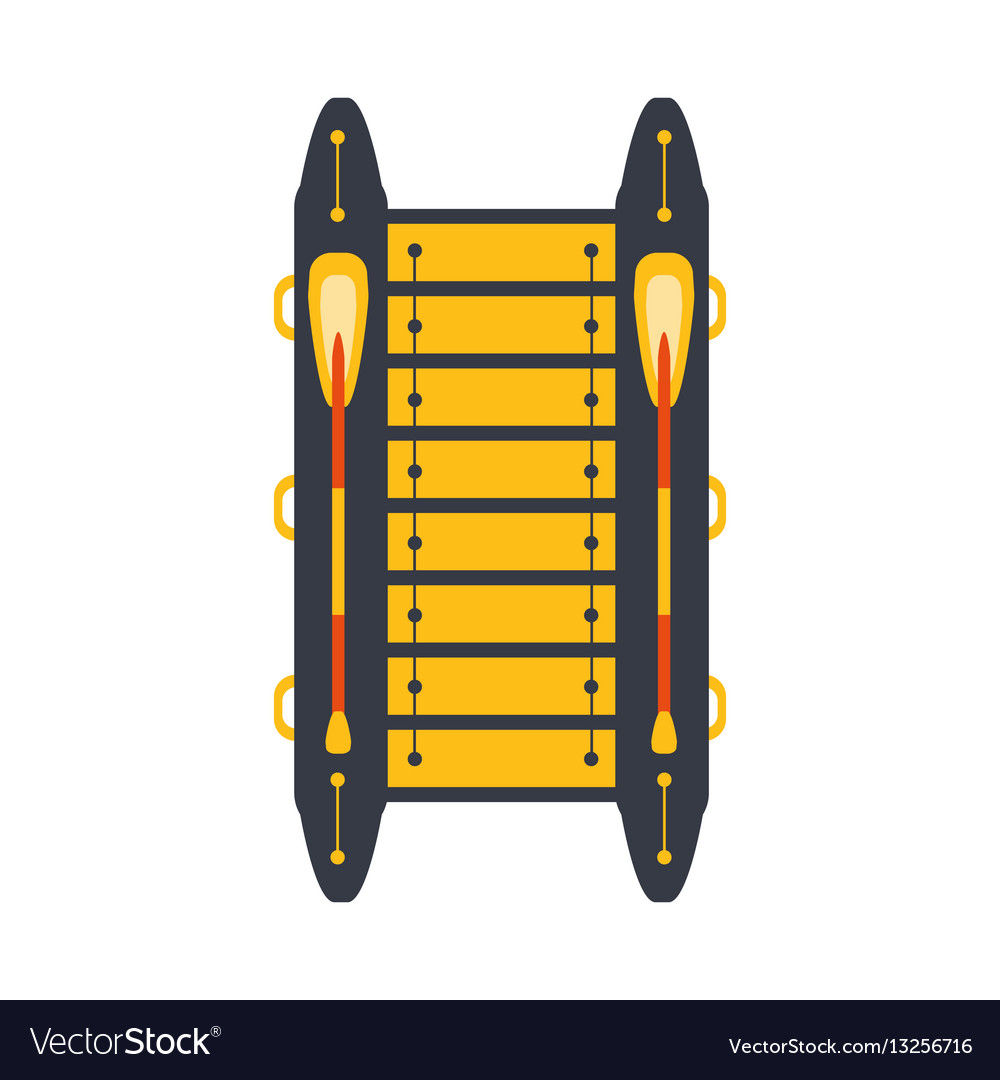 Grey and yellow catamaran with two peddles part vector image