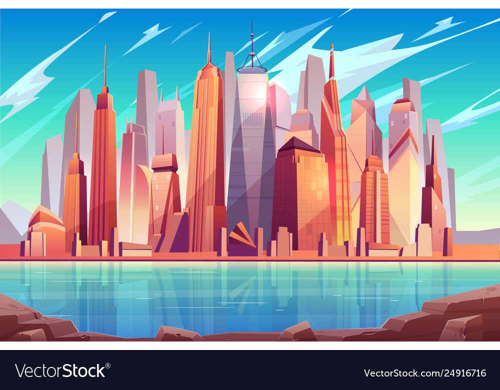 New york city skyline cartoon background