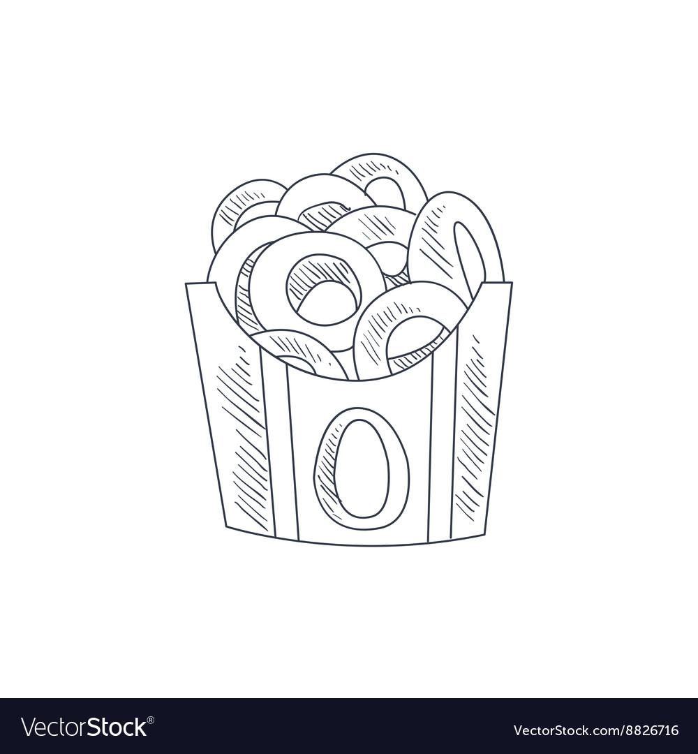 Onion Rings Hand Drawn Sketch