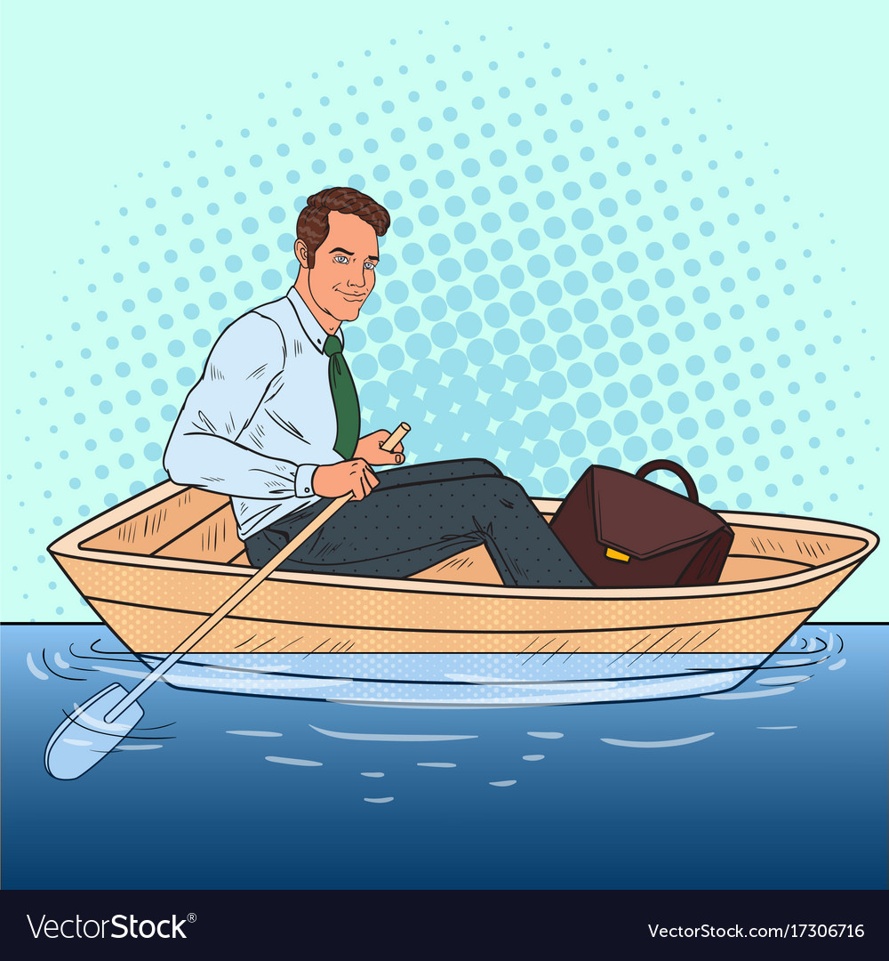 Pop art businessman floating in the boat