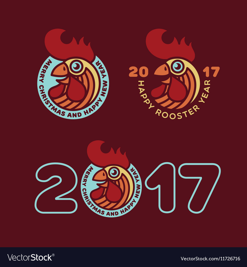 Rooster year label set