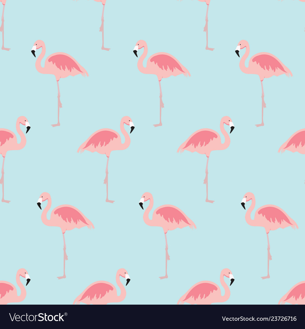 Seamless pattern with cartoon pink flamingo bird
