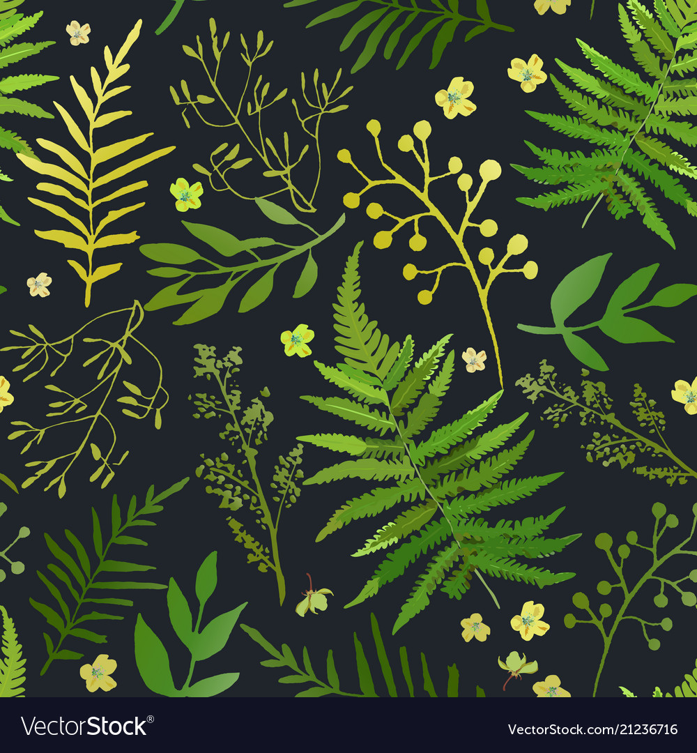 Seamless pattern with leaves floral set vector