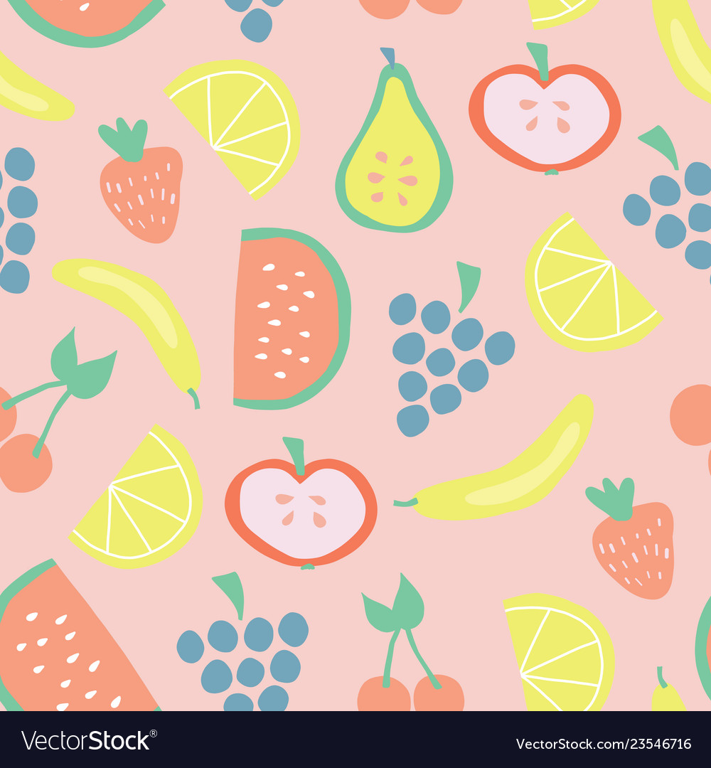 Seamless summer fruit pattern background