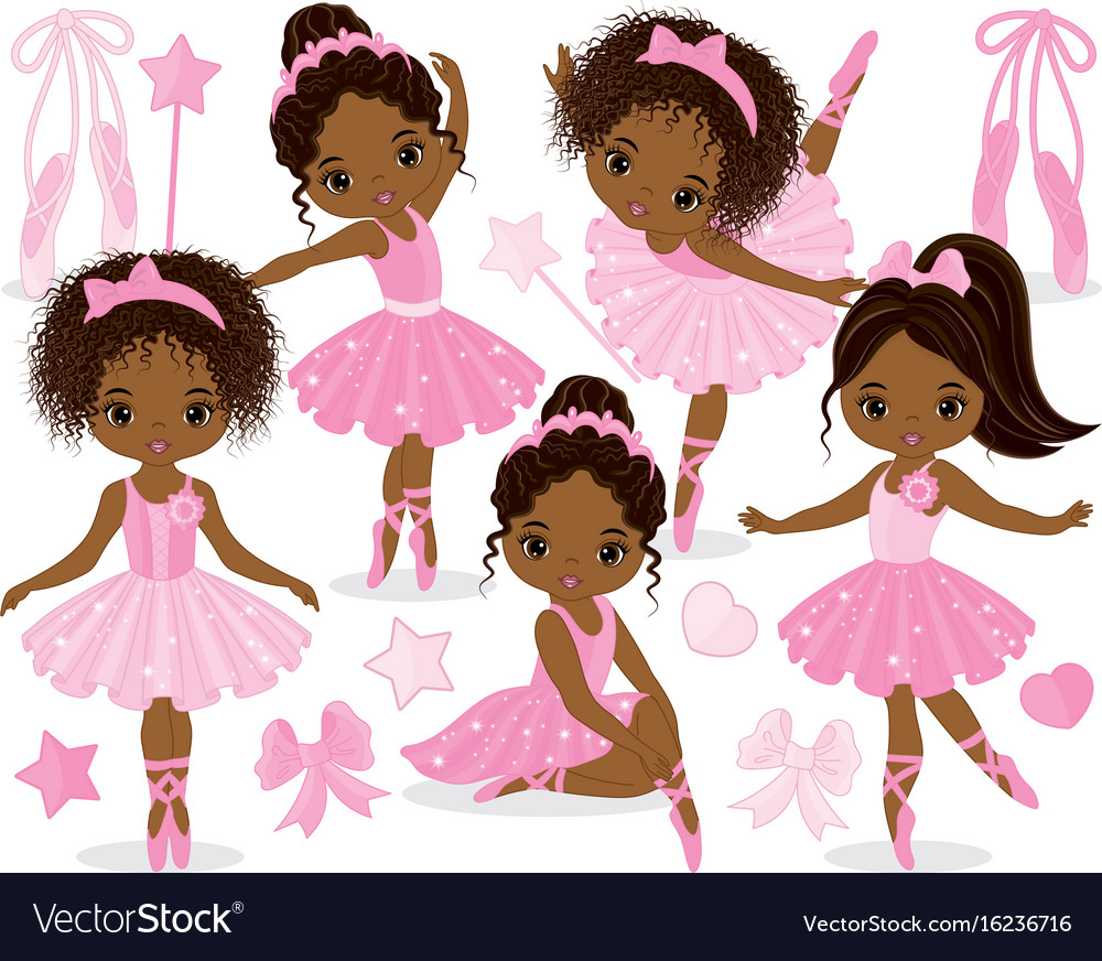 Set with little african american ballerinas