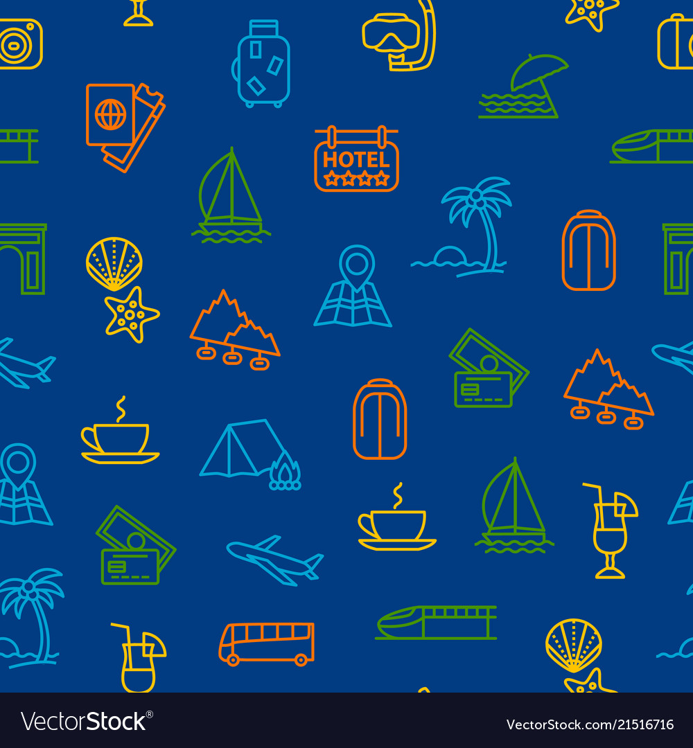 Travel and tourism thin line seamless pattern