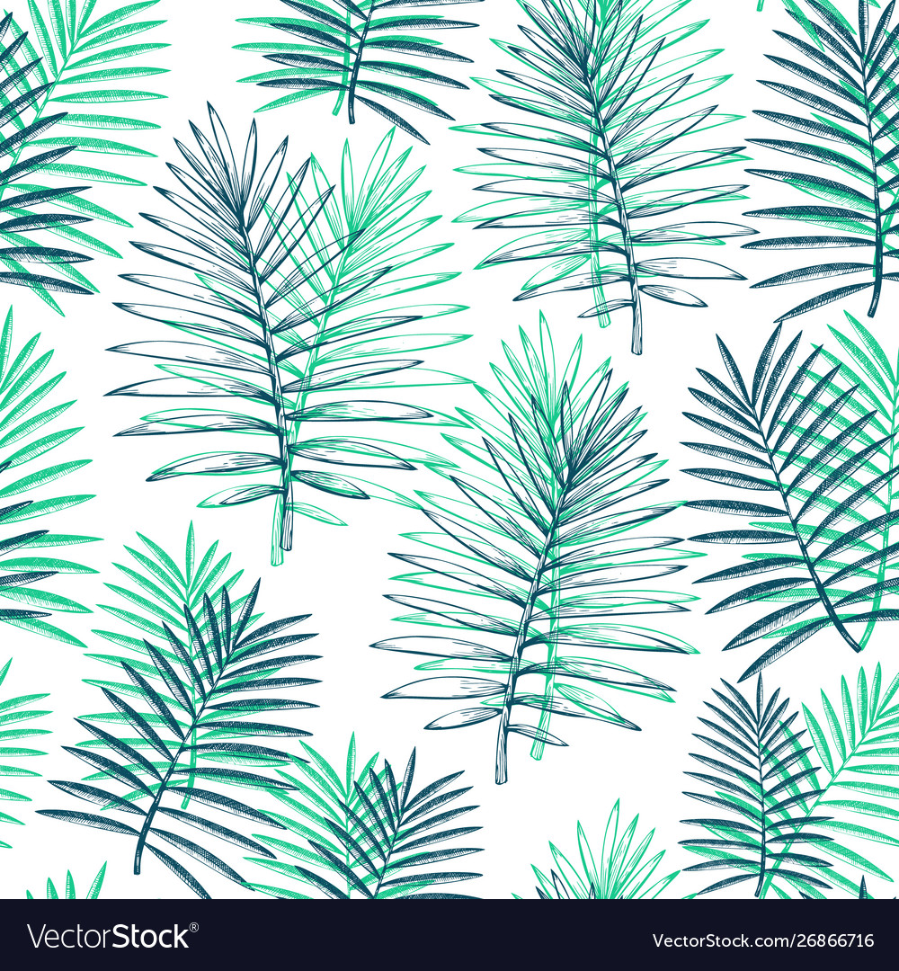 Tropical plants seamless pattern hand drawn