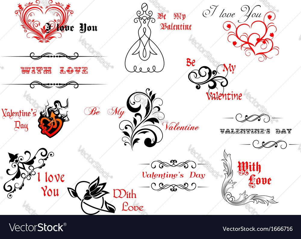 Valentines day symbols and headers