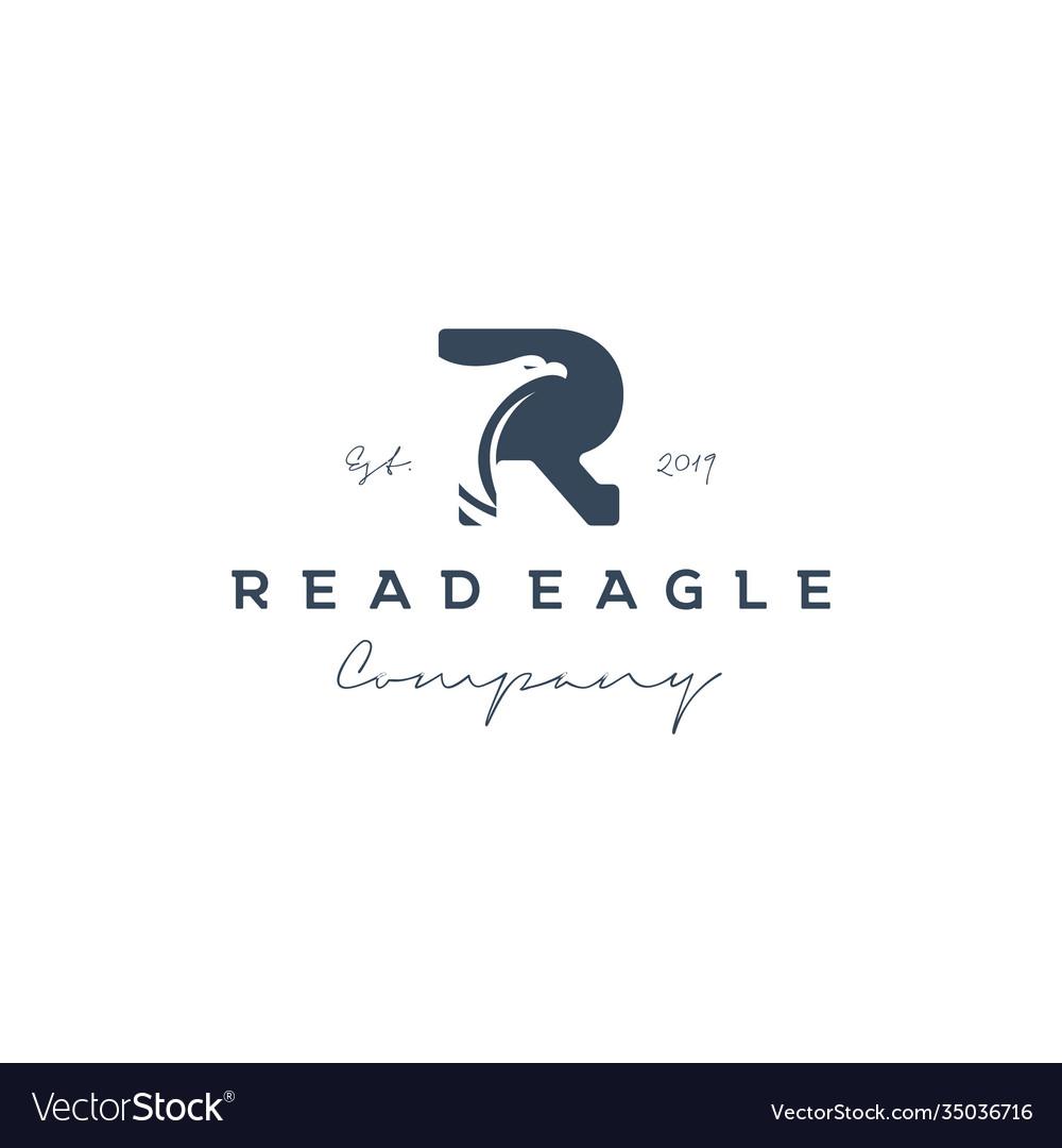 Vintage initial letter r with eagle logo design