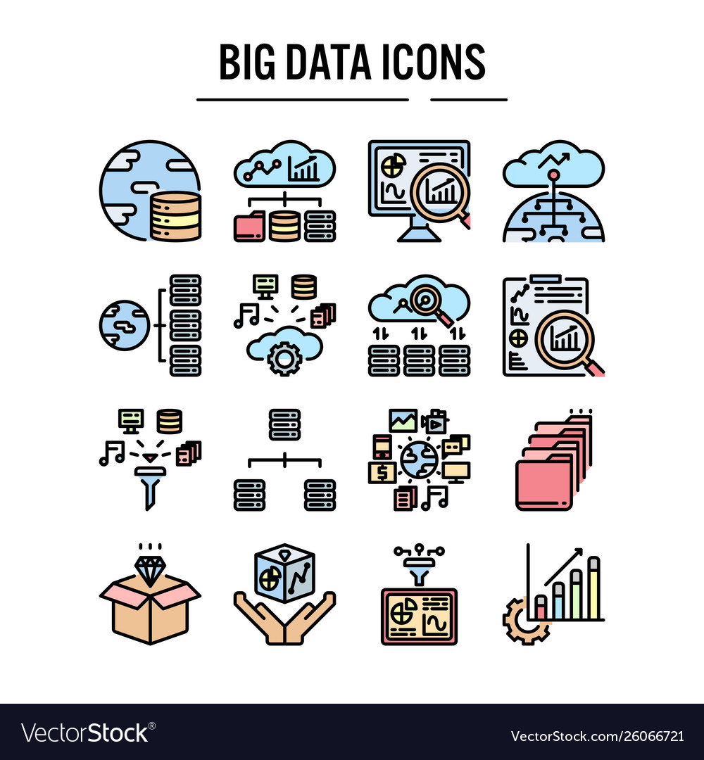 Big data icon in filled outline design for web