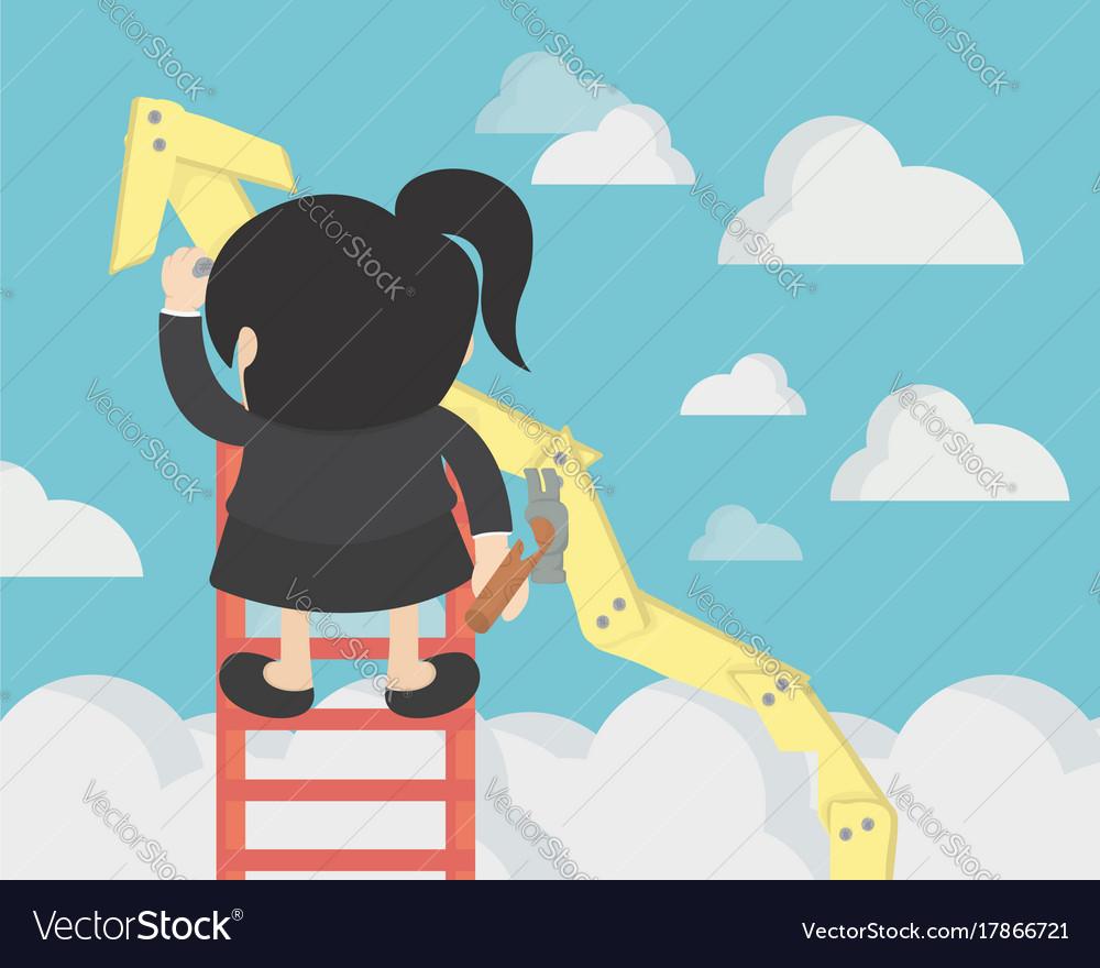 Business woman make growth