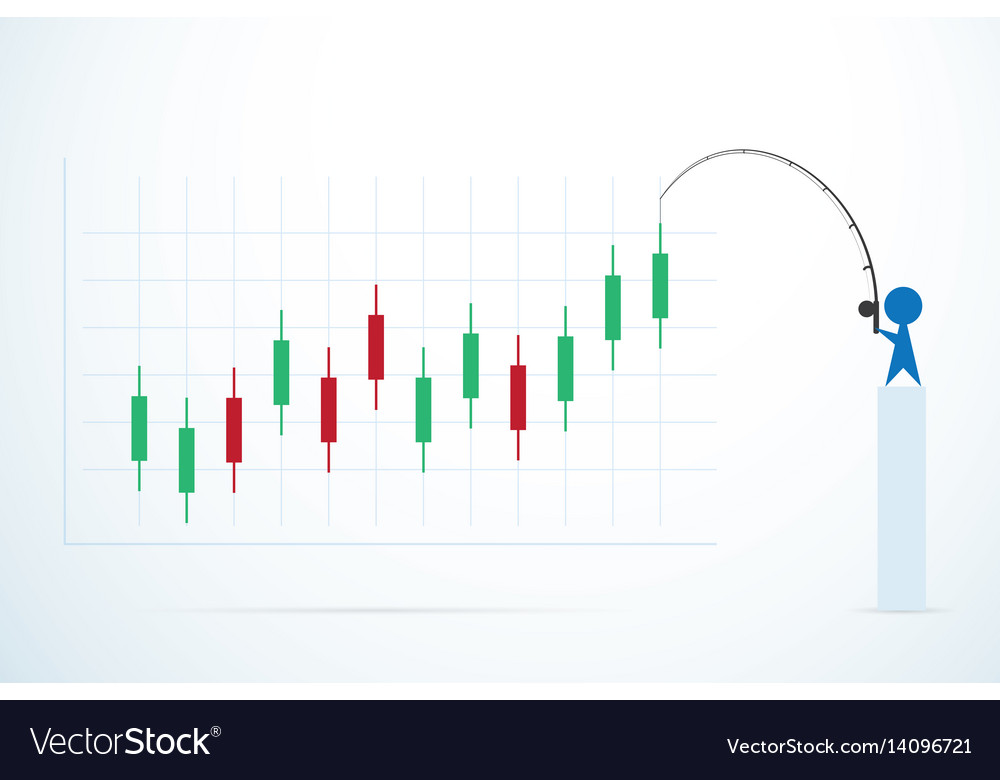 Businessman and candlestick chart stock