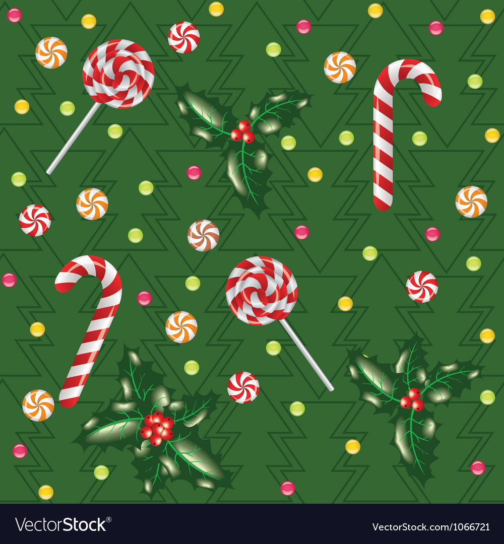 Candies lollipops and holly berry