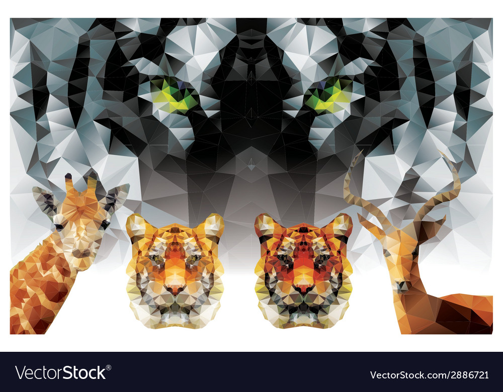 Collection geometric polygon animals tiger