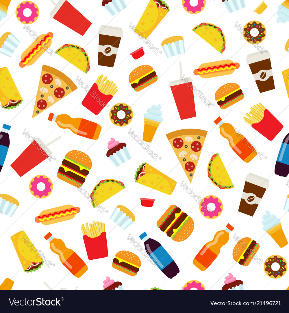 Colorful fast food seamless pattern