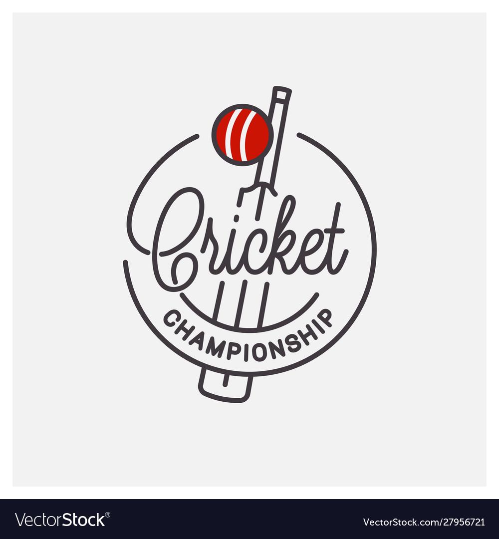 Cricket championship logo round linear bats