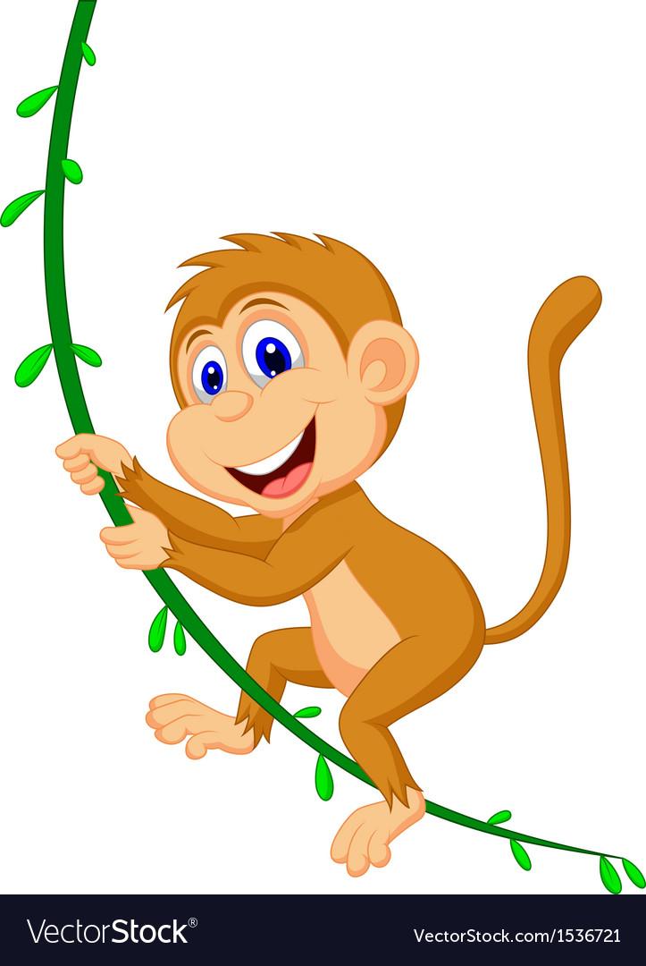 Cute monkey cartoon swinging