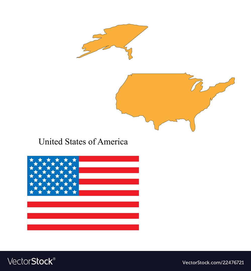 Flag and outline of the usa
