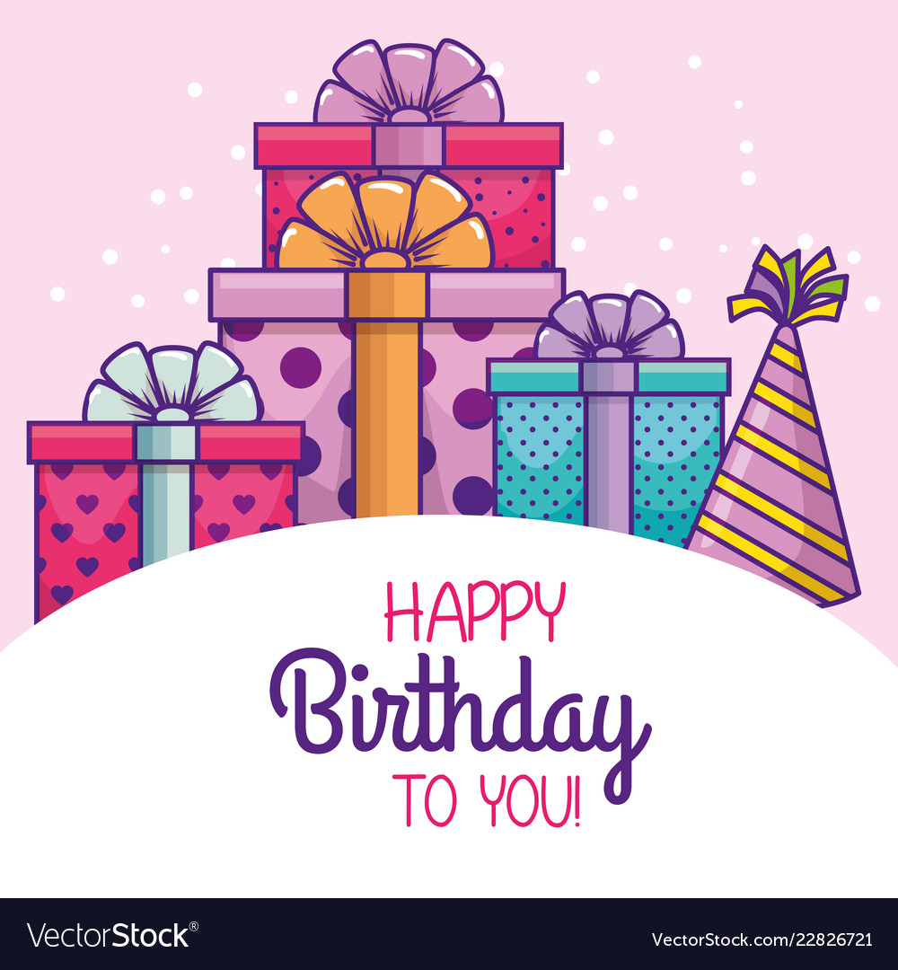 Happy Birthday With Party Hat And Presents Vector Image