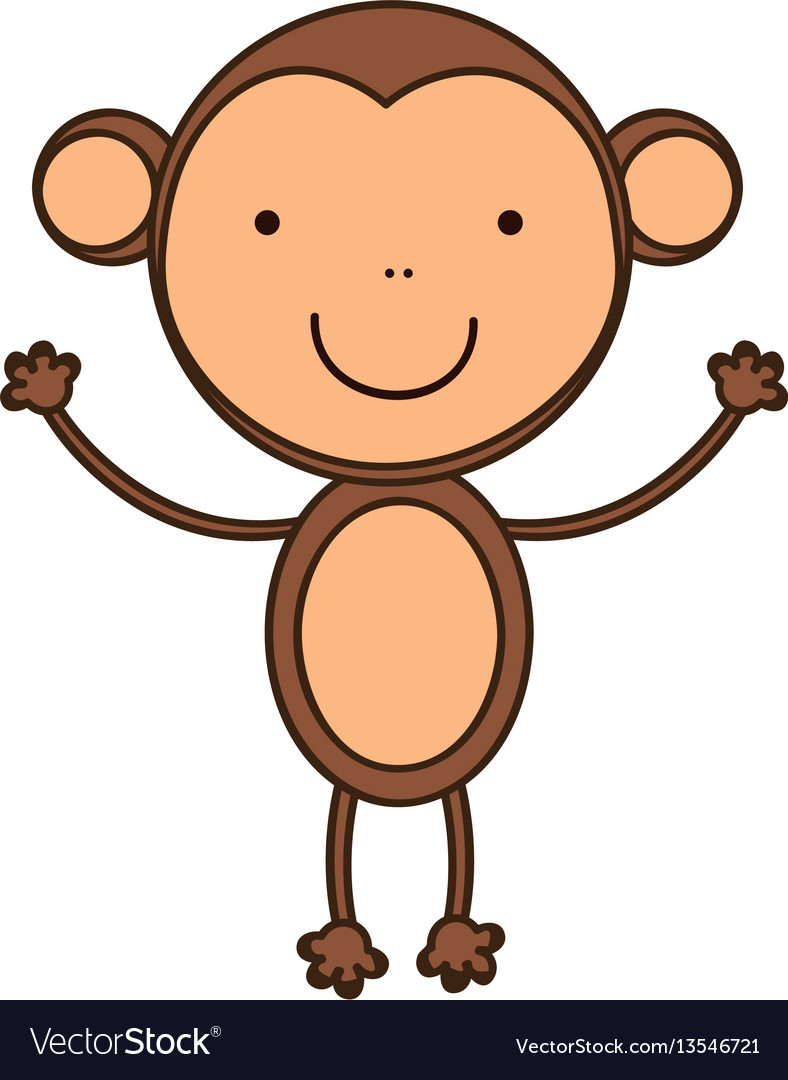 Happy monkey with hands up icon vector image
