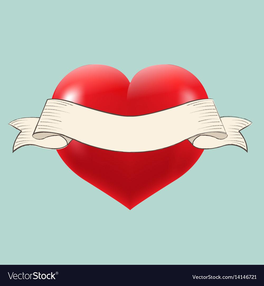 Heart with retro ribbon