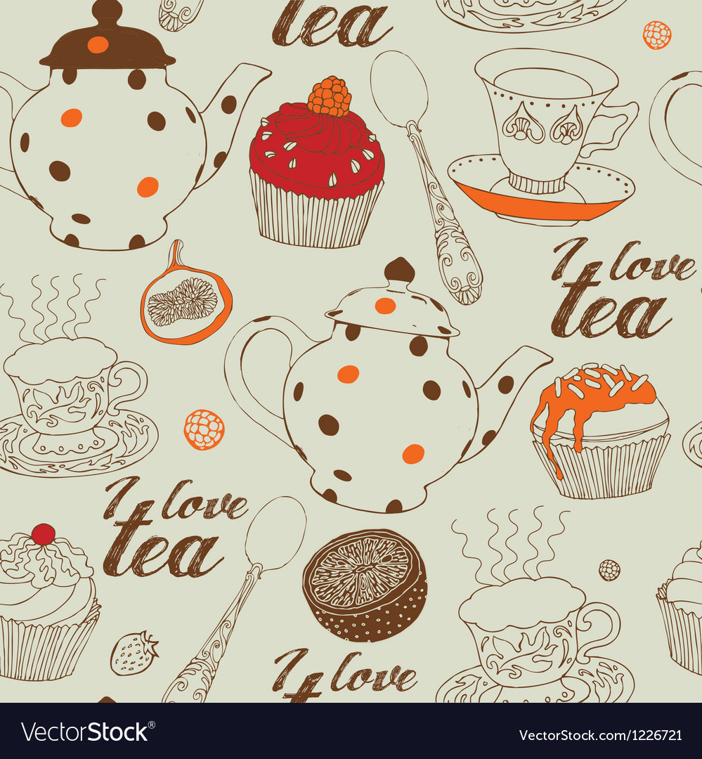 Seamless background with tea and sweets