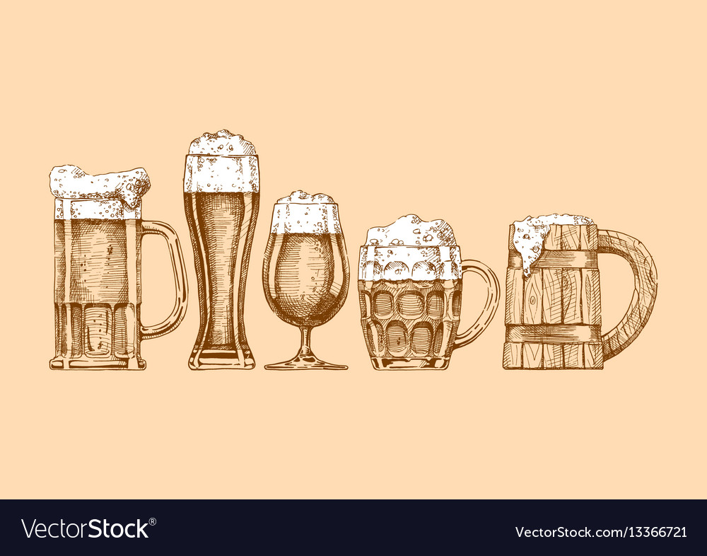 Set of beer glasses and mugs