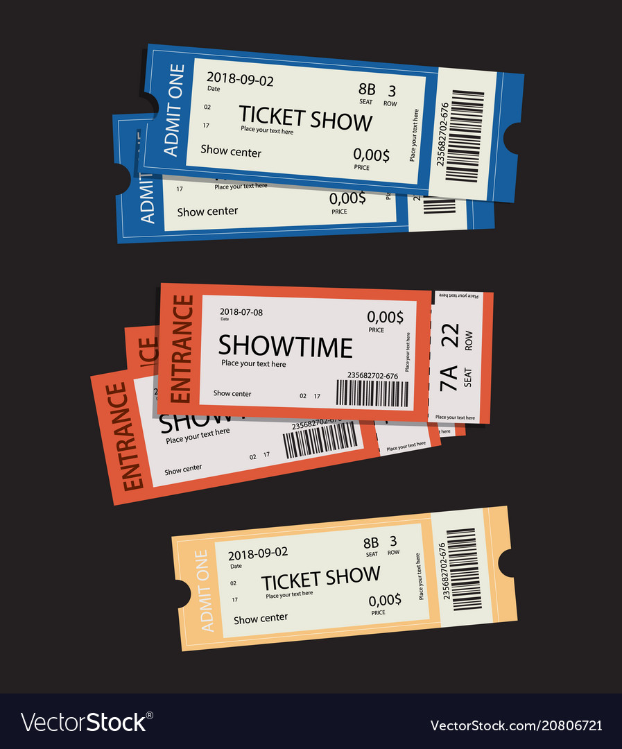 Set of eleven tickets show and coupons