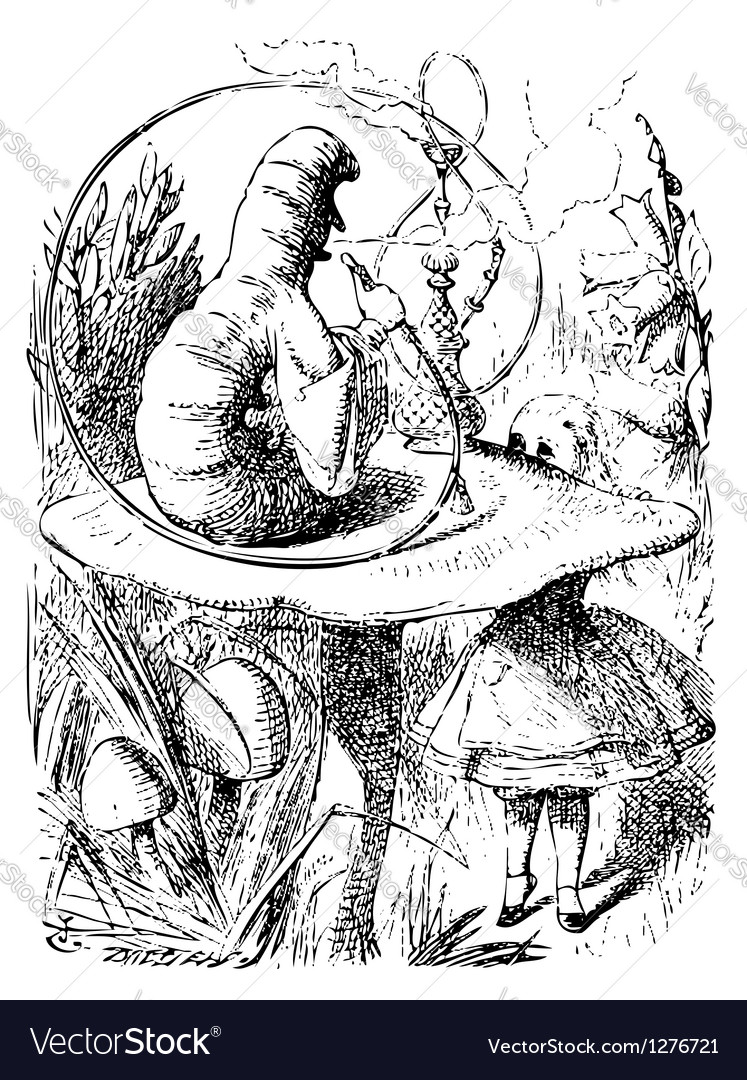 Smoking Caterpillarin Alice in Wonderland